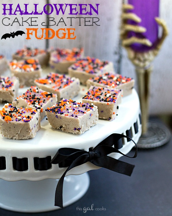 Halloween Cake Batter Fudge from www.thisgalcooks.com #fudge #halloween #cakebatter