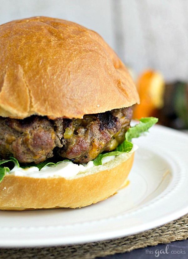 Jalapeno Cheddar Burgers from www.thisgalcooks.com #jalapeno #cheddar #burgers