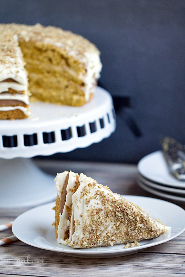 Pumpkin Spice Cake with Maple Bourbon Frosting | This Gal Cooks