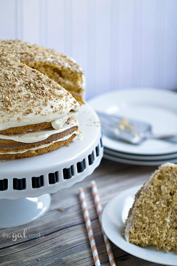 Pumpkin Spice Cake with Maple Bourbon Frosting