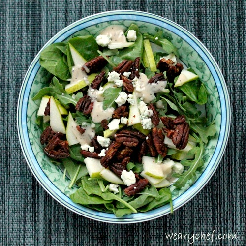 Easy Arugula Salad with Glazed Pecans by The Weary Chef