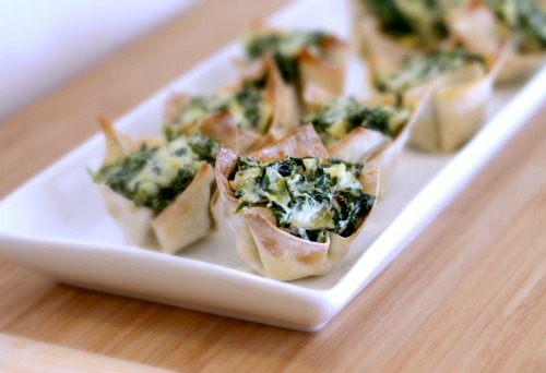 Spinach and Artichoke Wontons