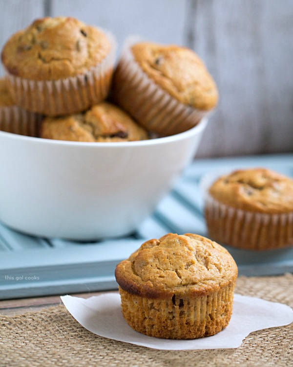Chocolate Chip Peanut Butter Banana Muffins from This Gal Cooks