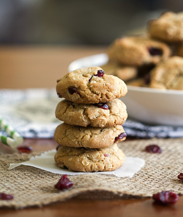 Cranberry Oatmeal Cookies - This Gal Cooks. Filled with decedent white chocolate chips and spiced up with cinnamon, nutmeg and cloves!