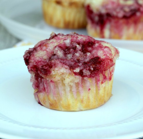 Raspberry Lemon Muffins from www.thisgalcooks.com #breakfast #muffins #fruit plain