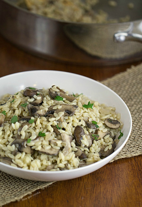 Savory Orzo with Mushrooms - This Gal Cooks