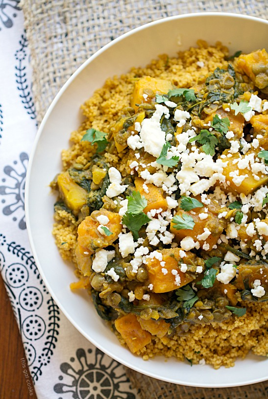 Lentil Tagine with Whole Wheat Couscous - This Gal Cooks #cleaneating #vegetarian #nomeat