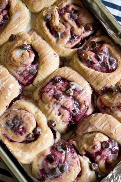 60 Minute Chocolate Raspberry Sweet Rolls by This Gal Cooks