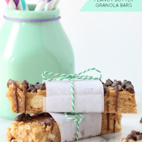 No Bake Chocolate Peanut Butter Granola Bars - Spoonful of Flavor for This Gal Cooks