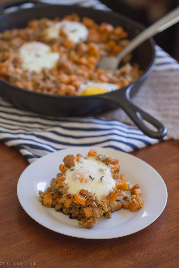 Chicken Sausage And Sweet Potato Hash With Baked Eggs