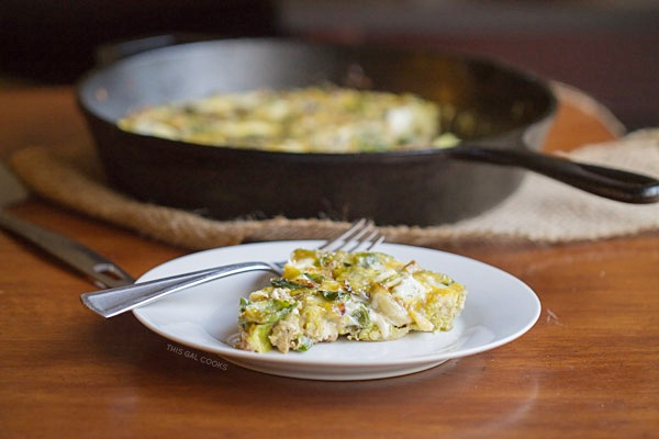 Brussels Sprouts, Bacon and Goat Cheese Frittata - This Gal Cooks #eggs #lowcarb #casseroles