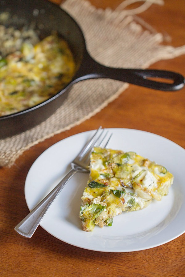 Brussels Sprouts, Bacon and Goat Cheese Fritatta - This Gal Cooks #eggs #lowcarb #casseroles