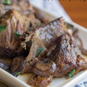 Crock Pot Beef Burgundy - This Gal Cooks. Tasty beef roast is seasoned, browned and slow cooked with red wine and onions to give you a hearty meal that the whole family will enjoy.