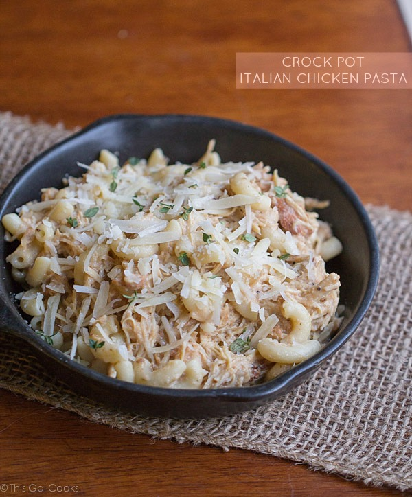 Crock Pot Italian Chicken Pasta - This Gal Cooks #dinner #crockpot #easyrecipes
