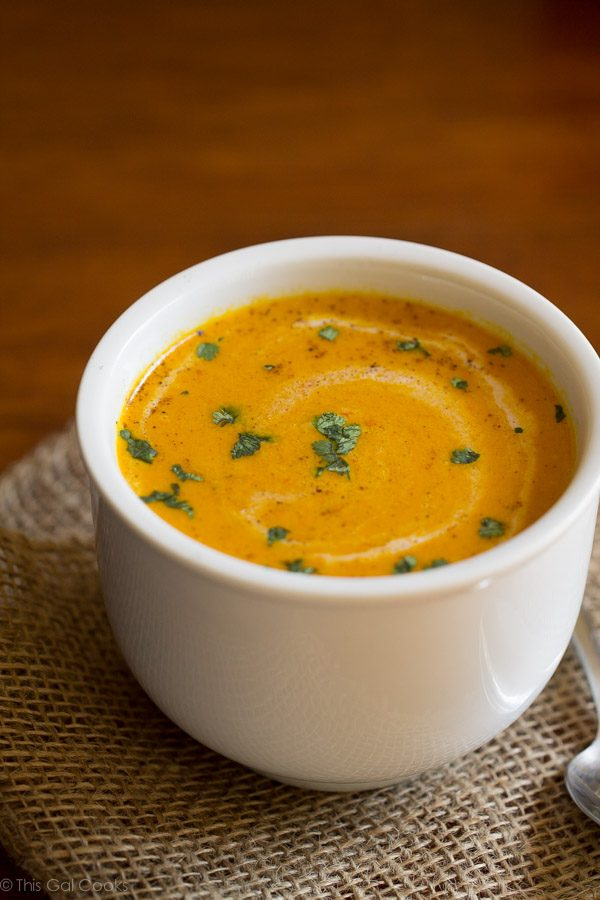 Moroccan Carrot Soup - This Gal Cooks #dairyfree #dinner #secretrecipeclub
