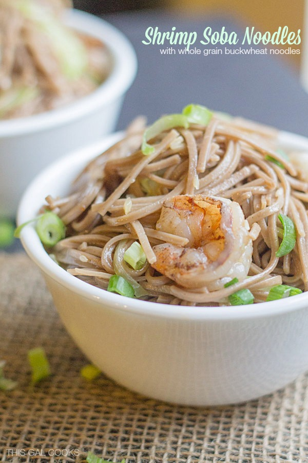 Shrimp Soba Noodles - This Gal Cooks. Made with Whole Grain Buckwheat Noodles