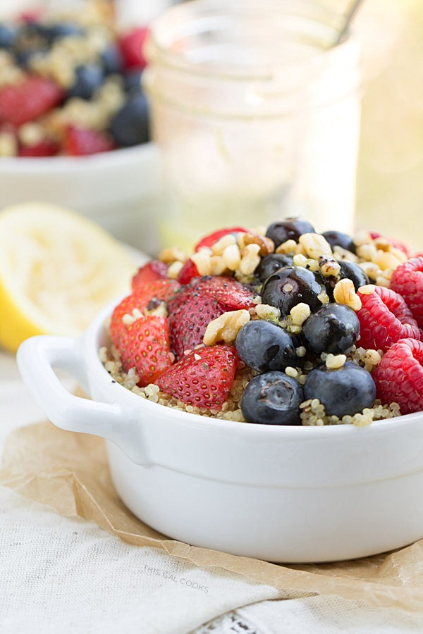 This Fresh Berry Salad with Walnuts and Quinoa is full of nutrients and flavor. Top it off with homemade Lemon Poppy Seed Dressing (recipe included).