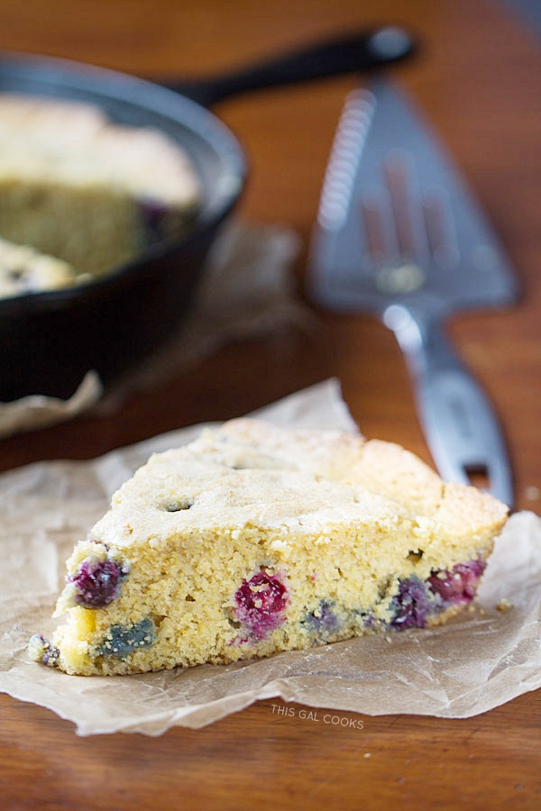 This super delicious, moist Blueberry Cornbread is made with coconut milk, fresh blueberries and brown sugar.