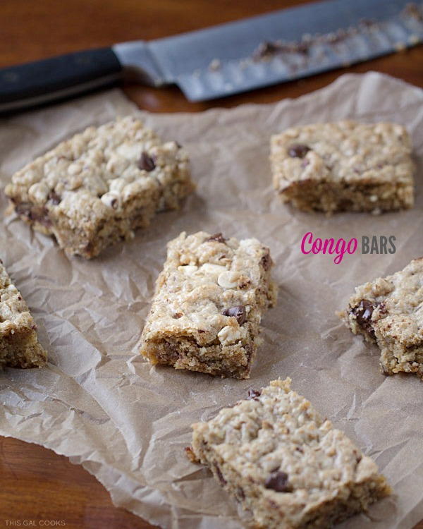 Congo Bars: these extreme blondies are loaded with toasted coconut, chopped pecans, chocolate chips and white chocolate chips. A delicious treat for any coconut lover!