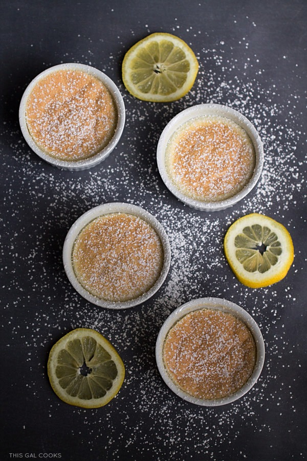Lemon Coconut Pudding Cakes: limoncello, fresh lemon juice, coconut milk and other select ingredients are baked in cute little ramekins to make these pretty little cakes.