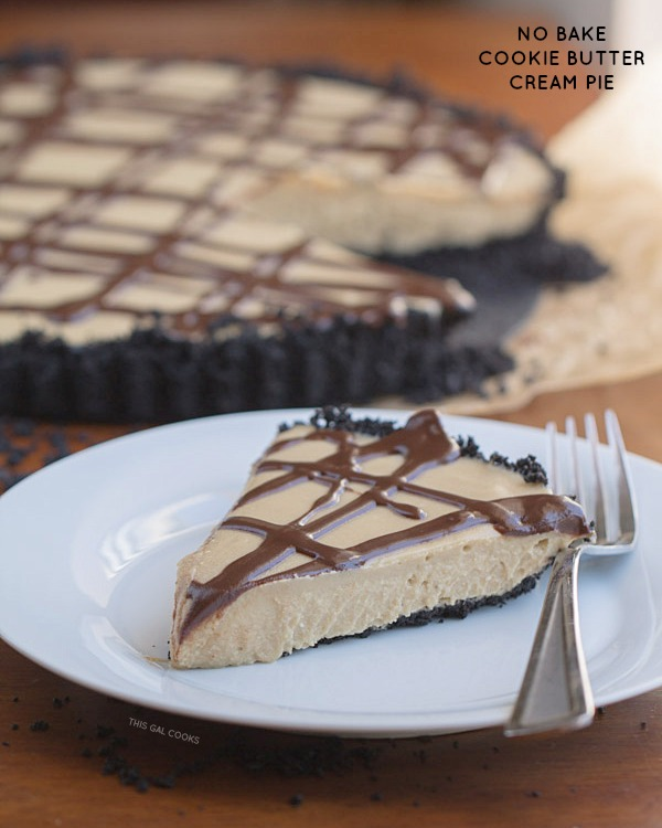 No Bake Cookie Butter Cream Pie. This creamy, full of cookie butter, tasty pie is made dairy free by using coconut milk and vegan cream cheese.