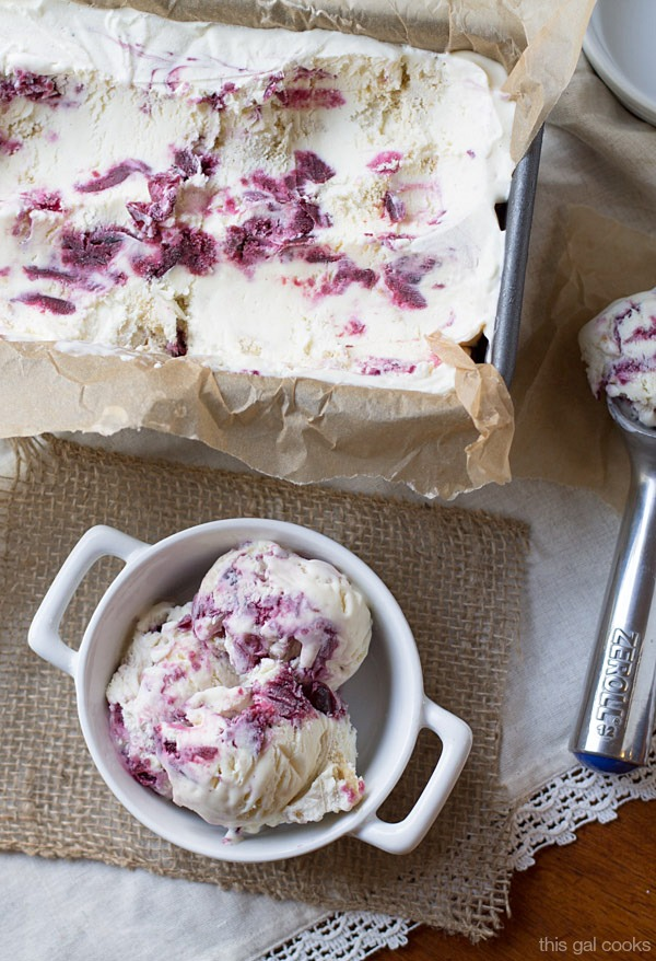 Crazy good, made from scratch No Churn Cherry Cobbler Ice Cream