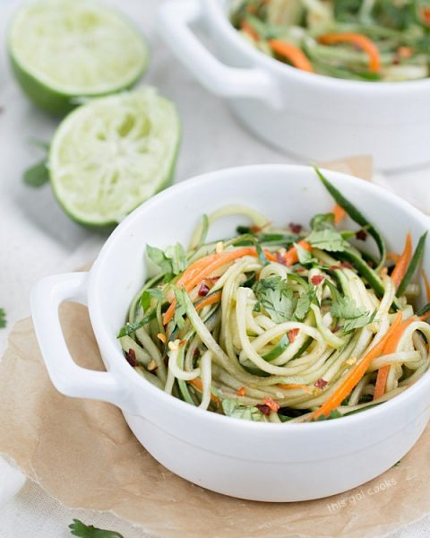 Cucumber Carrot Noodles with Sesame Soy Dressing #lowcarb