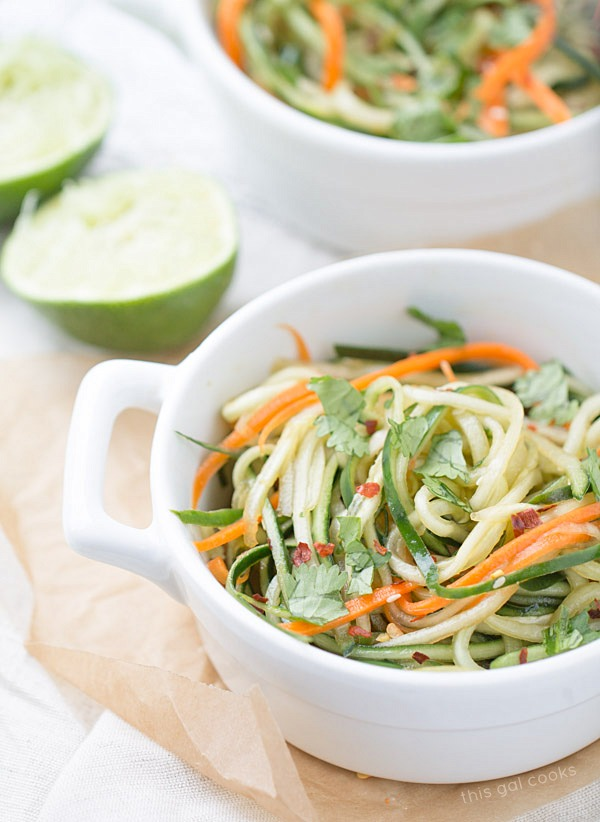 Cucumber Noodles with Sesame Soy Dressing #lowcarb