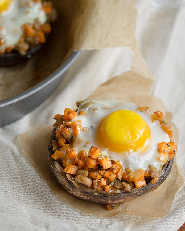 Sausage + Sweet Potato Stuffed Portobello: Chicken Sausage and diced sweet potatoes are sautéed in Italian seasonings, stuffed into portabellos, topped with an egg and baked to perfection.