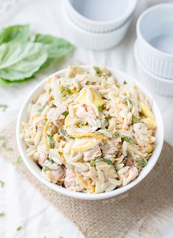 Grilled Salmon and Vegetable Orzo Salad