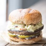 Portobello Burger with Chipotle Avocado Slaw