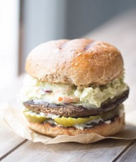 Portobello Burger with Chipotle Avocado Slaw