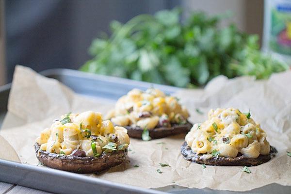 Southwest Pasta Salad Stuffed Mushrooms