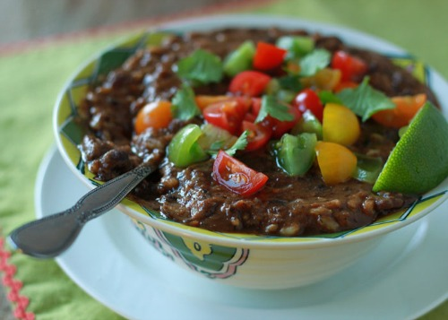 Vegan Black Bean and Brown Rice Soup by Kitchen Treaty