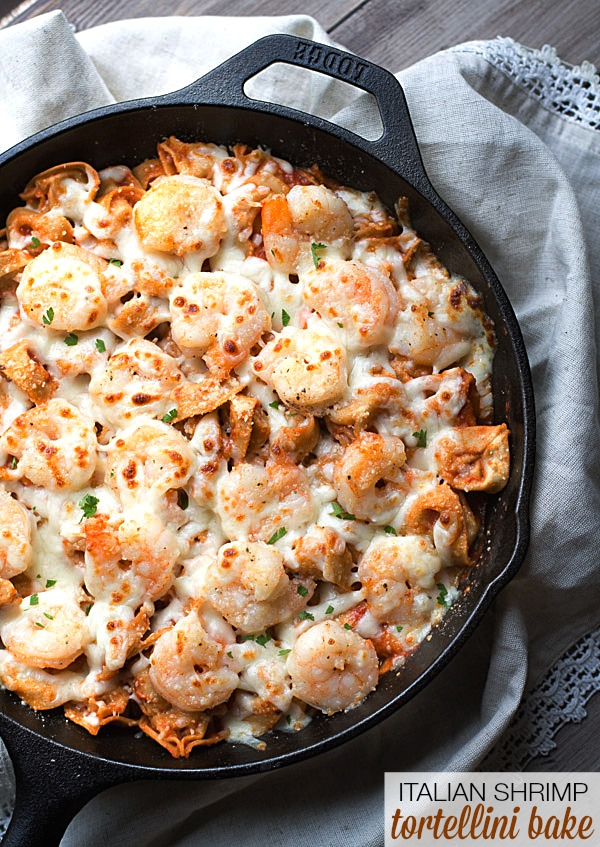 Easy Italian Shrimp Tortellini Bake on This Gal Cooks #dinner