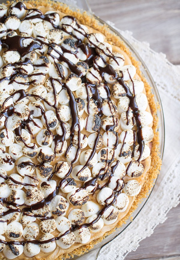 S'mores Peanut Butter Chocolate Pudding Pie on This Gal Cooks