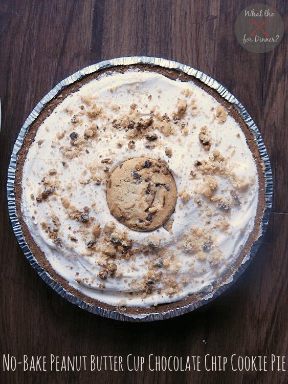 No Bake Peanut Butter Cup Chocolate Chip Cookie Pie | MomsTestKitchen.com | #LGKitchen