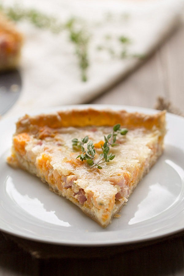 Sweet Potato, Ham and Swiss Tart on This Gal Cooks