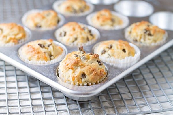 Sausage Cheddar and Olive Oil Muffins on This Gal Cooks #PantryInsiders