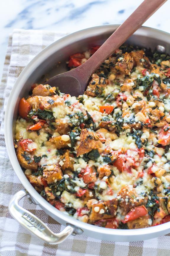 One-Skillet-Tomato-White-Bean-and-Parmesan-Crouton-Bake-Recipe