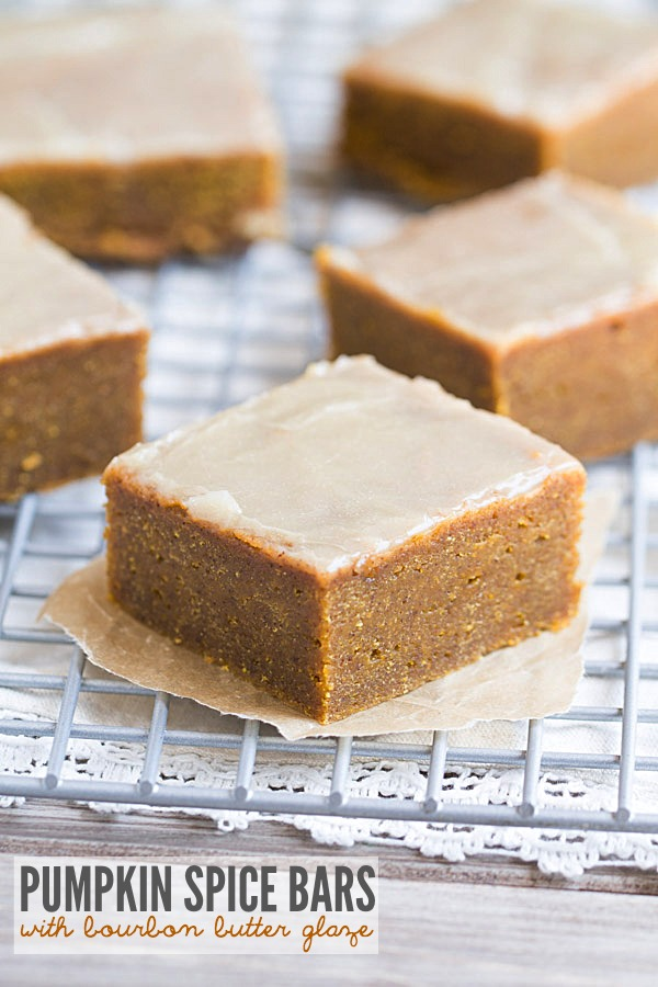 The BEST fudgy Pumpkin Spice Bars with Bourbon Butter Glaze. These melt in your mouth bars will make you swoon! | This Gal Cooks