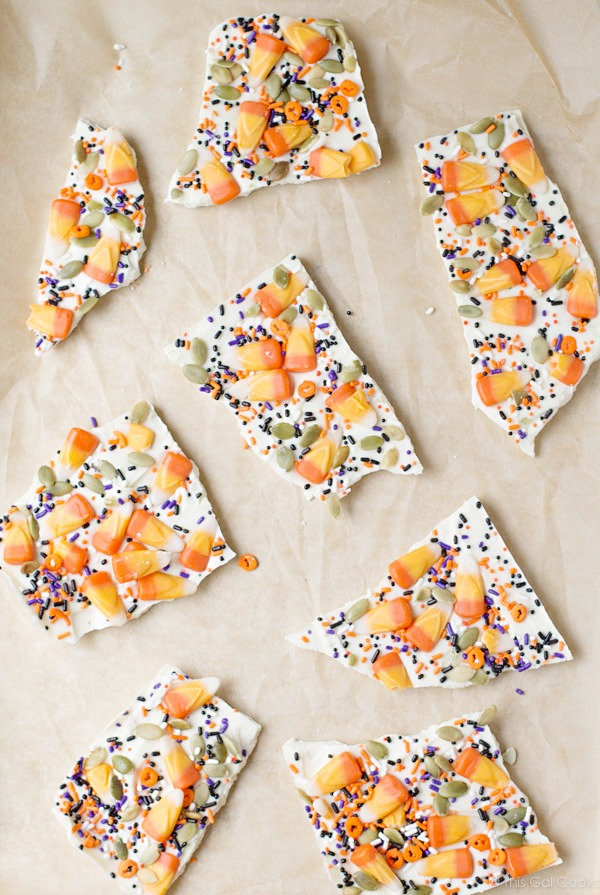 Candy Corn Halloween Bark | This Gal Cooks
