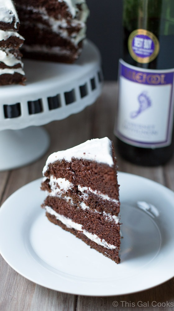 Chocolate Cabernet Cake. Made from scratch, this simple chocolate cake is made from soft, moist and my new favorite dessert! | This Gal Cooks