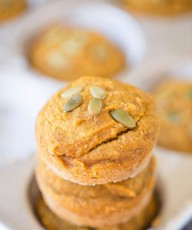 Healthier Pumpkin Muffins. Made with coconut oil and honey. No refined sugars. 150 calories per muffin. | This Gal Cooks