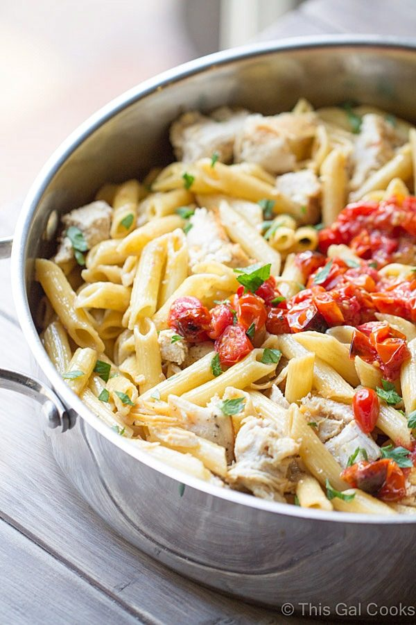 One Pan Chicken Pasta with Chardonnay Wine Sauce | This Gal Cooks