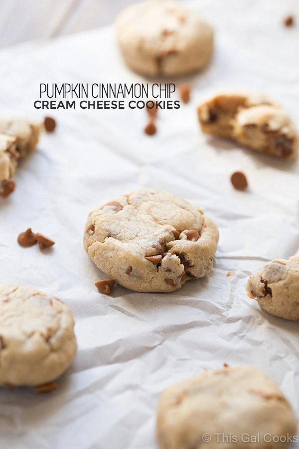 Pumpkin Cinnamon Chip Cream Cheese Cookies   This Gal Cooks #dessert