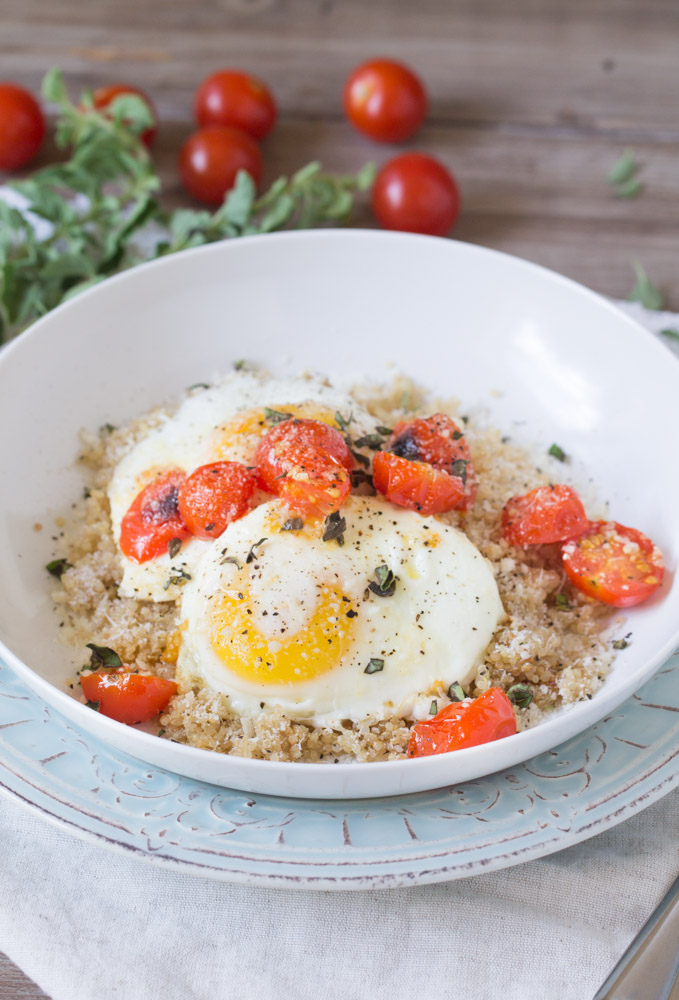 Roasted Tomatoes with Eggs and Quinoa