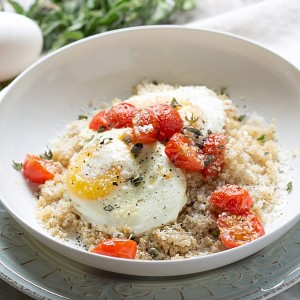 Roasted Tomatoes with Eggs and Quinoa | This Gal Cooks #healthy #breakfast