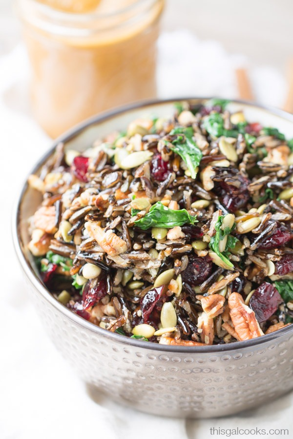 Harvest Wild Rice Salad with Pumpkin Vinaigrette | This Gal Cooks #pantryinsiders