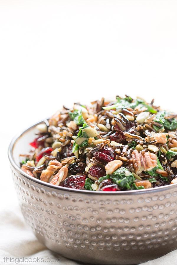 Harvest Wild Rice Salad with Pumpkin Vinaigrette | This Gal Cooks #pantryinsiders